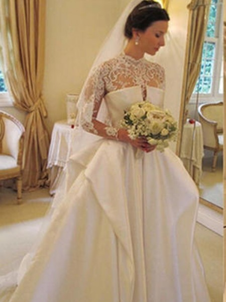 Ball Gown Satin Lace Long Sleeves Chapel Train Wedding Dress