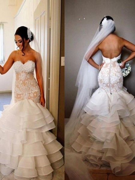 Trumpet/Mermaid Tulle Sleeveless Sweetheart Sweep/Brush Train Wedding Dress