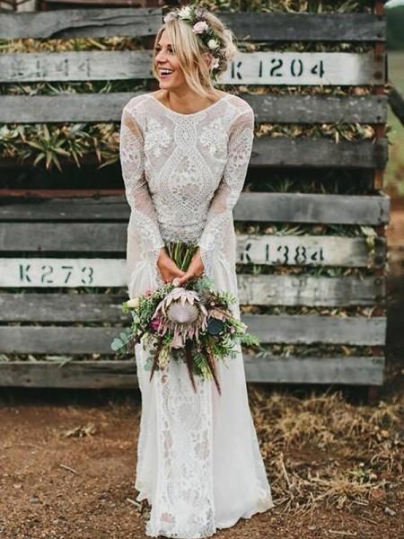 Sheath/Column Lace Scoop Long Sleeves Floor-Length Wedding Dress