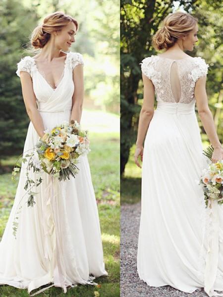 A-Line/Princess Chiffon V-neck Short Sleeves Sweep/Brush Train Wedding Dress