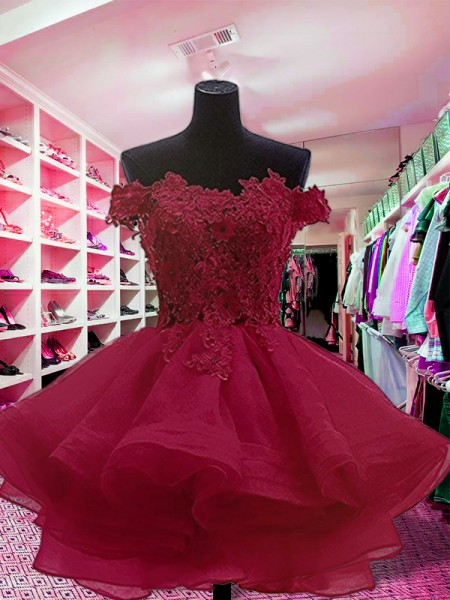 Ball Gown Sleeveless Off-the-Shoulder Short/Mini Organza Dresses