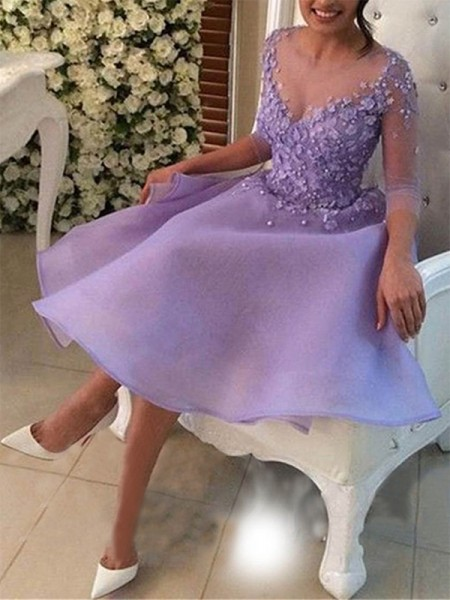 A-Line/Princess V-neck 3/4 Sleeves Organza Knee-Length Dresses