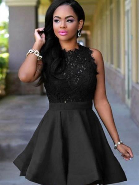 A-Line/Princess Jewel Sleeveless Satin Short/Mini  Dresses