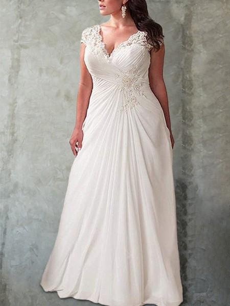 Empire Sweetheart Sleeveless Lace Sweep/Brush Train Chiffon Plus Size Wedding Dresses