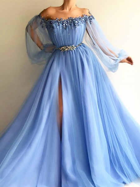 A-Line/Princess Long Sleeves Off-the-Shoulder Tulle Floor-Length Dresses