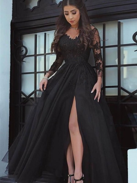 cd1fdb4181e2 Ball Gown Long Sleeves Off-the-Shoulder Floor-Length Lace Dresses