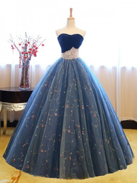 Ball Gown Sleeveless Floor-Length Sweetheart Beading Net Dresses