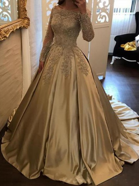 Ball Gown Long Sleeves Off-the-Shoulder Sweep/Brush Train Applique Satin Dresses