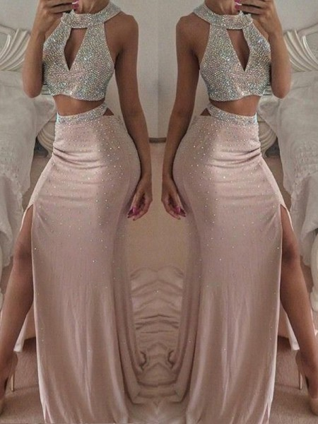 Trumpet/Mermaid Sleeveless Floor-Length Beading Chiffon Two Piece Dresses