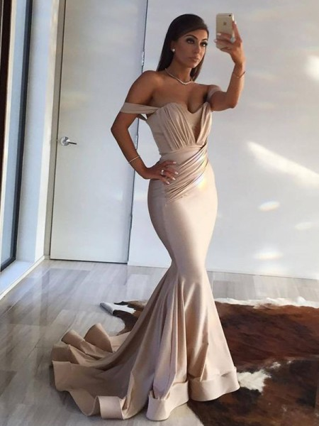 Trumpet/Mermaid Sleeveless Off-the-Shoulder Sweep/Brush Train Ruffles Spandex Dresses