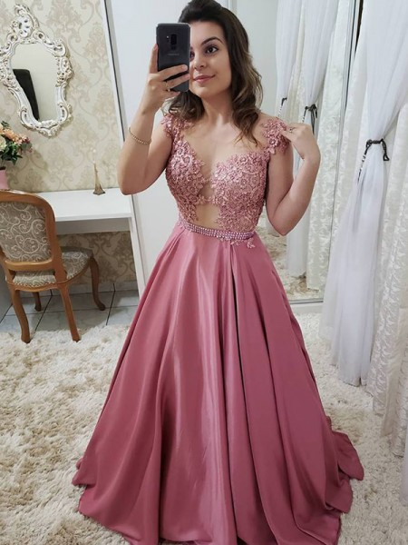 A-Line/Princess Sleeveless Floor-Length Scoop Applique Satin Dresses