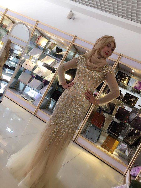 Sheath/Column Long Sleeves Floor-Length Scoop Sequin Tulle Muslim Dresses