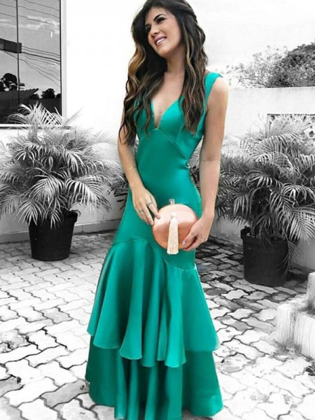 Sheath/Column Sleeveless V-neck Floor-Length Ruffles Dresses with Satin