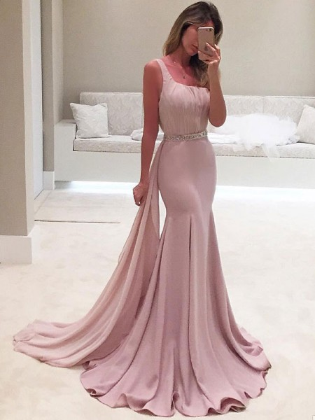 Trumpet/Mermaid Sleeveless One-Shoulder Sweep/Brush Train Ruffles Dresses with Chiffon