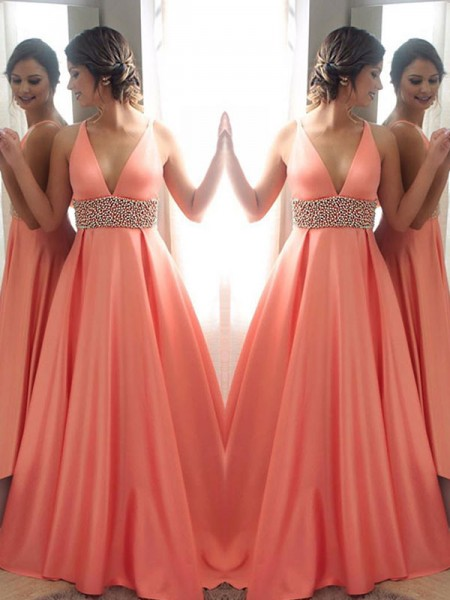 A-Line/Princess Sleeveless V-neck Sweep/Brush Train Beading Dresses with Satin