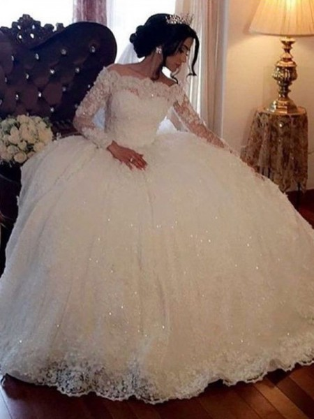 Ball Gown Bateau Long Sleeves Floor-Length Lace Wedding Dresses with Tulle