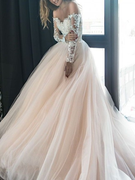 A-Line/Princess Off-the-Shoulder Long Sleeves Court Train Applique Wedding Dresses with Tulle