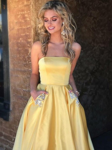 A-Line/Princess Strapless Sweep/Brush Train Sleeveless Beading Dresses with Satin