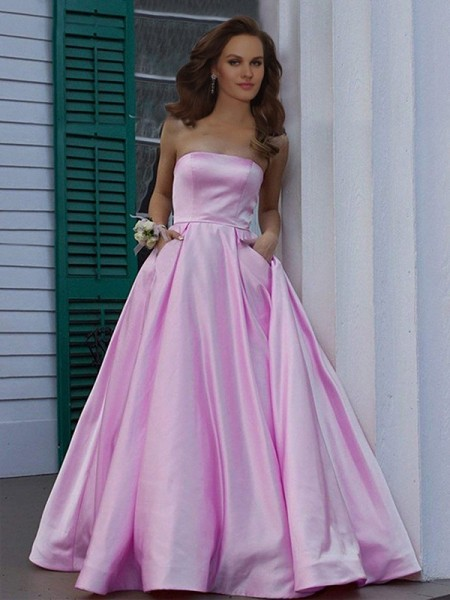 A-Line/Princess Strapless Sleeveless Floor-Length Ruffles Dresses with Satin