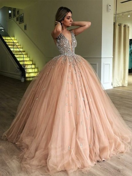 Ball Gown V-neck Sweep/Brush Train Sleeveless Beading Dresses with Tulle