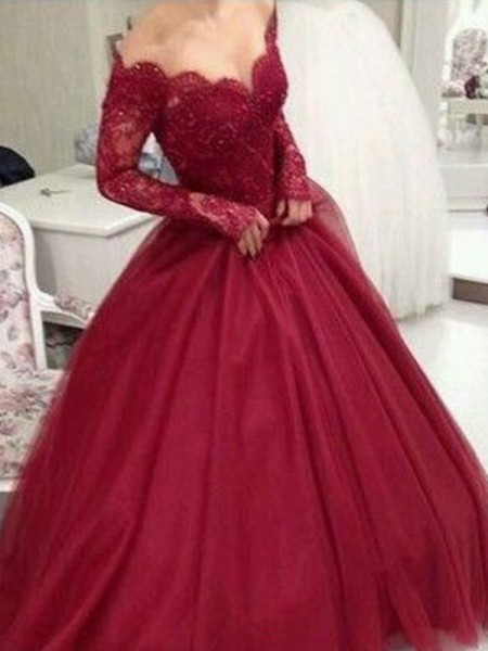 Ball Gown V-neck Long Sleeves Floor-Length Lace Dresses with Tulle