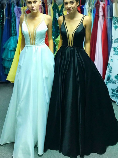 A-Line/Princess Sleeveless V-neck Floor-Length Ruffles Dresses with Satin
