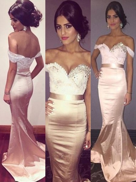 Trumpet/Mermaid Sleeveless Off-the-Shoulder Sweep/Brush Train Beading Dresses with Silk like Satin