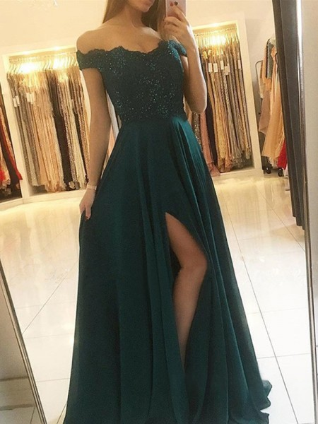 A-Line/Princess Off-the-Shoulder Sleeveless Floor-Length Beading Dresses with Chiffon