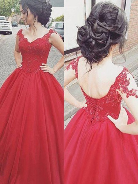 Ball Gown Sleeveless Floor-Length V-neck Applique Dresses with Satin