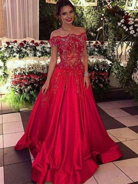 Ball Gown Off-the-Shoulder Sweep/Brush Train Sleeveless Beading Dresses with Satin