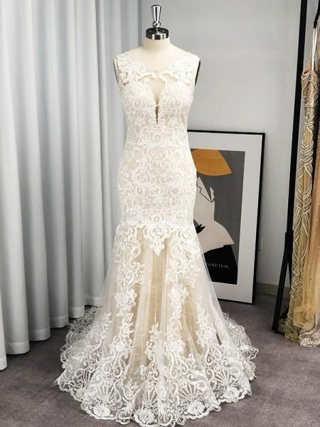 Trumpet/Mermaid Tulle Applique Scoop Sleeveless Sweep/Brush Train Wedding Dresses