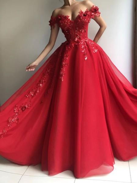 A-Line/Princess Tulle Off-the-Shoulder Sleeveless Applique Floor-Length Dresses