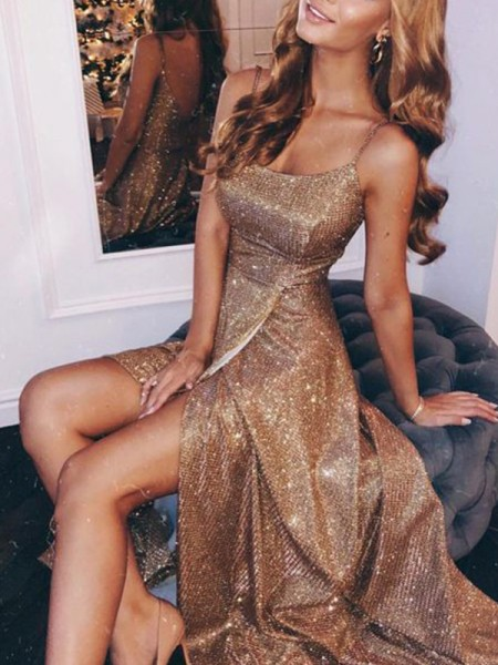 A-Line/Princess Sequins Spaghetti Straps Ruched Sleeveless Floor-Length Dresses