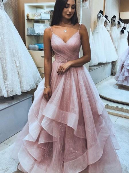 A-Line/Princess Spaghetti Straps Sleeveless Ruffles Floor-Length Dresses