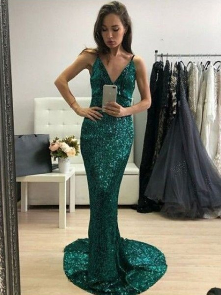 Trumpet/Mermaid Sequins V-neck Ruffles Sweep/Brush Train Sleeveless Dresses