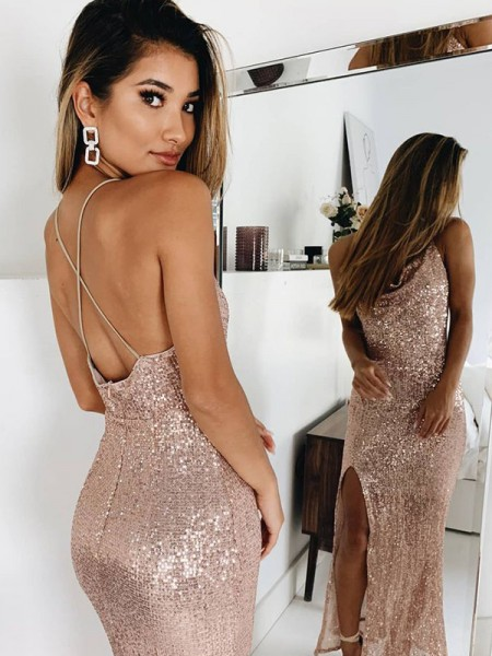 Trumpet/Mermaid Ruched Spaghetti Straps Sleeveless Sequins Ankle-Length Dresses