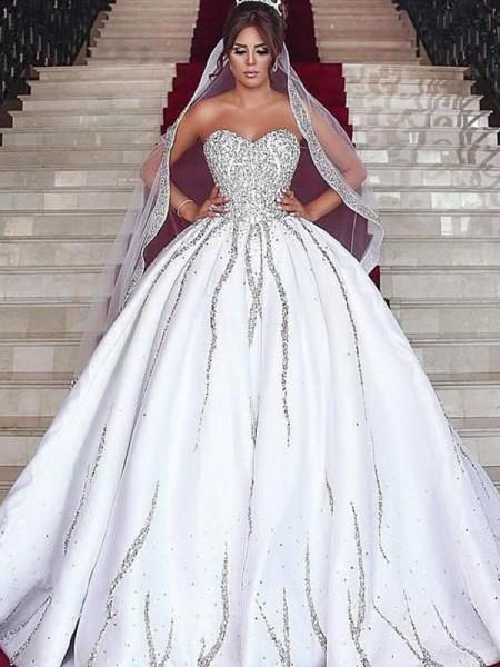 Ball Gown Sweetheart Satin Beading Sleeveless Sweep/Brush Train Wedding Dresses