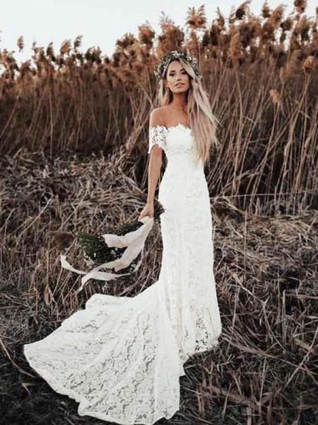 Trumpet/Mermaid Lace Applique Off-the-Shoulder Short Sleeves Court Train Wedding Dresses