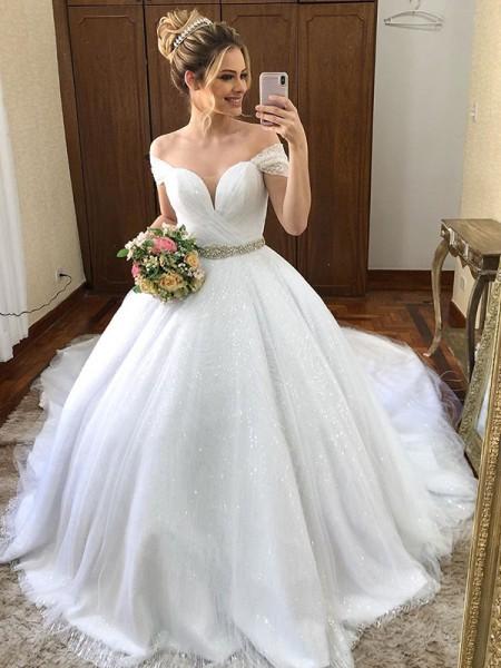 Ball Gown Off-the-Shoulder Sash/Ribbon/Belt Tulle Court Train Sleeveless Wedding Dresses