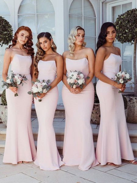 Sheath/Column Strapless Ruffles Sleeveless Stretch Crepe Floor-Length Bridesmaid Dresses