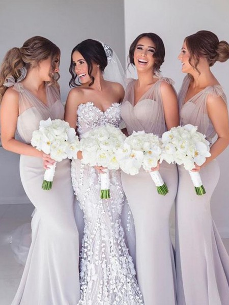 Trumpet/Mermaid Straps Sleeveless Ruffles Sweep/Brush Train Stretch Crepe Bridesmaid Dresses