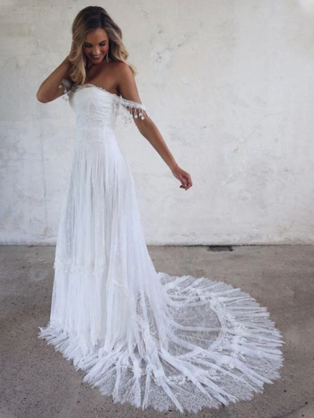 A-Line/Princess Off-the-Shoulder Tulle Sweep/Brush Train Lace Sleeveless Wedding Dresses