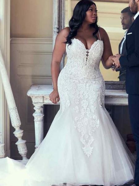 Trumpet/Mermaid Tulle Spaghetti Straps Sleeveless Sweep/Brush Train Applique Plus Size Wedding Dresses