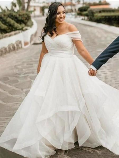 A-Line/Princess Ruffles Sweep/Brush Train Organza Sleeveless Off-the-Shoulder Plus Size Wedding Dresses
