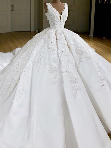 Ball Gown V-neck Satin Sweep/Brush Train Applique Sleeveless Wedding Dresses