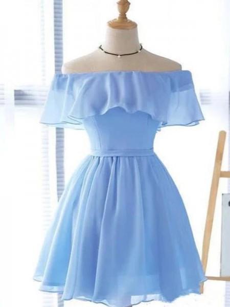 A-Line/Princess Chiffon Ruffles Off-the-Shoulder Sleeveless Short/Mini Homecoming Dresses