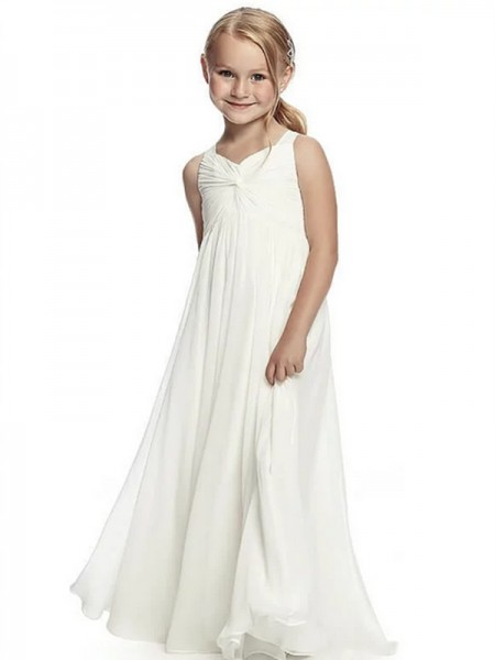 A-Line/Princess Chiffon Ruffles Sleeveless Scoop Floor-Length Flower Girl Dresses