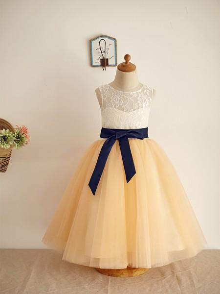 A-Line/Princess Sleeveless Tulle Lace Scoop Floor-Length Flower Girl Dresses