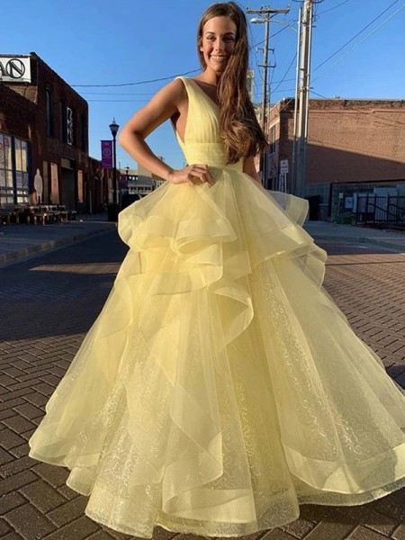 Ball Gown Floor-Length V-neck Ruffles Sleeveless Organza Dresses