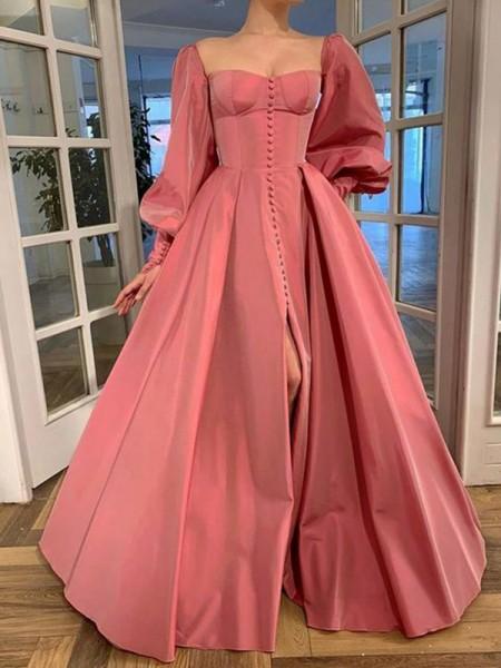 A-Line/Princess Long Sleeves Square Ruffles Satin Floor-Length Dresses